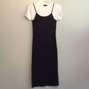Ladies black ribbed midi dress